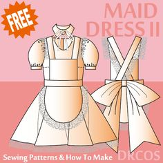 Maid Costume - Free Japanese Cosplay Sewing Pattern! You can learn to sew Japanese patterns at www.japanesesewingpatterns.com