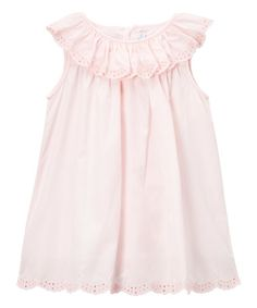 Another great find on #zulily! Pink Eyelet Ruffle-Collar Dress - Infant & Kids #zulilyfinds