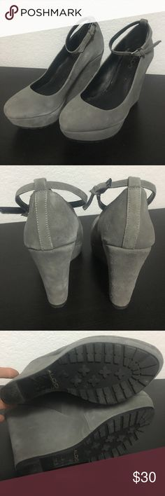 Grey suede wedges Mary Jane style wedges. Grey suede. Perfect condition and very comfy. Bottom has a great sole so no slipping on floors. Aldo Shoes Wedges