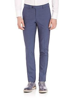 Pal Zileri Wool Slim Fit Dress Pants - Blue - Size 5