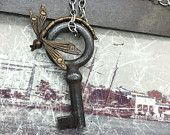 Dragonfly Key Steampunk necklace skeleton key Handcrafted artistic jewelry -The Victorian Magpie