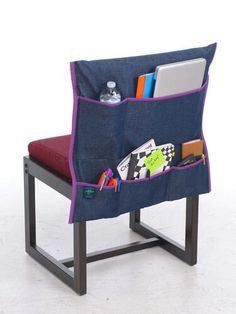 Even better than a regular slip-cover for the dorm chair....add pockets to the slip-cover for storage/supplies!