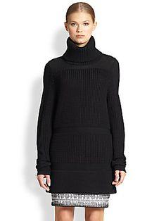 Helmut Lang Chunky Knit-Paneled Turtleneck Sweater