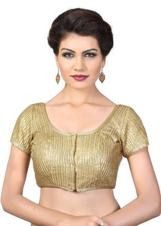 Saris and Things Gold Sequence Fancy Front Open Saree Blouse Choli SNT-X-394SL-GOLD