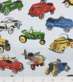 Novelty Cotton Fabric-Old Fashion Toy Cars On Blue
