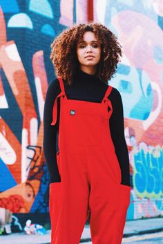 'Luna' Twill Cotton Dungarees in Strawberry Red