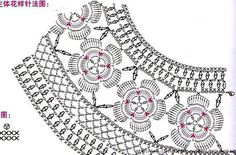Marisabel crochet: Diagram or knitting points Crochet Motif Patterns, Crochet Diagram, Crochet Chart, Knitting Patterns, Col Crochet, Crochet Collar, Crochet Girls, Diy Crafts Crochet, Popular Crochet