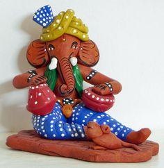 Ganesha Playing Tabla (Terracotta))