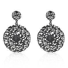 Black Rhodium Plating Brushed on Lead Free Alloy Base Metal Vintage Lace Filigree Earrings with Post Backing in Black Tone