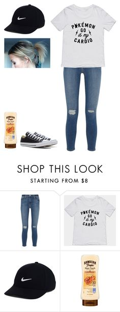 """Pokemon go hunting"" by omg-gab ❤ liked on Polyvore featuring Frame Denim, NIKE and Converse"