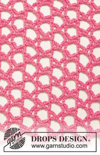 """Gehaakte DROPS omslagdoek met sterrenpatroon van \""""Cotton Merino\"""". ~ DROPS Design"""