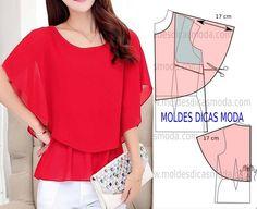 Para fazer este modelo de blusa capa imprima o molde base de blusa e faça a gradação para o seu tamanho. Siga o passo a passo para fazer o molde de blusa.