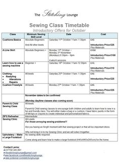 The Stitching Lounge timetable for October