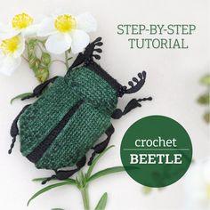 Crochet Beetle tutorial Beetle pattern Making a beetle step by Crochet Crafts, Crochet Dolls, Yarn Crafts, Crochet Projects, Knit Crochet, Amigurumi Patterns, Crochet Patterns, Crochet Leaves, Crochet Flower