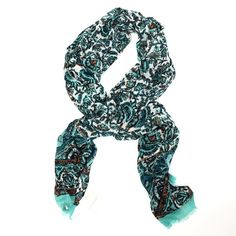 """Lucky Brand Vintage Shades of Aqua Floral Scarf Chic vintage floral scarf- perfect to add some ultra chic style to any outfit! Beautiful crafted from 100% viscose- approx .05"""" fringe edges, 74 inches long x 28 inches wide. Brand new with tags! Retails $50 Lucky Brand Accessories Scarves & Wraps"""