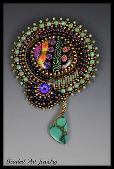 Bead Embroidered Brooch 8 019 by Beaded Art Jewelry, via Flickr