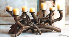 With their organic shapes and intriguing coloration, the Roost Dark Driftwood Candelabra can easily be the talk of any party. Pieces of hand-selected dark drif Fireplace Candle Holder, Driftwood Candle Holders, Candles In Fireplace, Candle Sconces, Pillar Candles, Seashell Art, Home Decor Online, Festival Lights, Organic Shapes