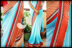 Double shaded light Blue Shimmer saree with Red banaras and Purple border Blouse - Red raw silk. For order mail indotus.couture@gmail.com