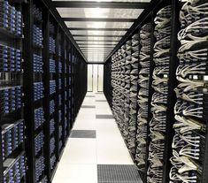 Set of server racks in the Iliad datacenter near Paris, France. The servers are Dell (We're inside a cold aisle). Techno Gadgets, High Tech Gadgets, Data Center Design, Contemporary Baskets, Server Rack, Cable Management, Architecture Design, Cloud, Paris France