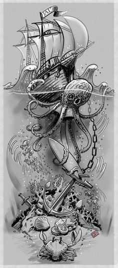 39 Ideas Tattoo Sleeve Ocean Octopuses For 2019 Related Octopus Tattoo Designs that are worth every pennyhairstyles for long hair videos Tropisches Tattoo, Tatoo Art, Body Art Tattoos, Tattoo Drawings, Tattoo Thigh, Ship Tattoos, Kracken Tattoo, Tattoo Clock, Surf Tattoo