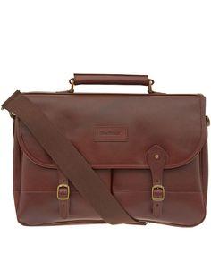 Barbour Dark Brown Leather Briefcase