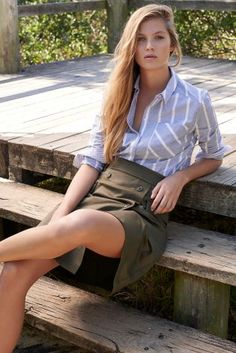 Blue Chambray Stripe Shirt- but I want it sleeveless for summer.