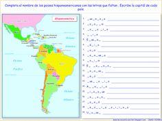 Spanish 1, How To Speak Spanish, Teaching, Countries, Maps, Spanish, Geography, Speak Spanish, Geography Kids