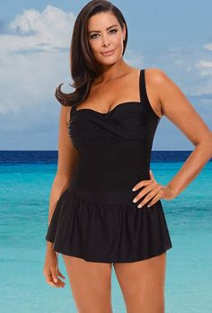 10-16 Solid Black Twist Front Swimdress