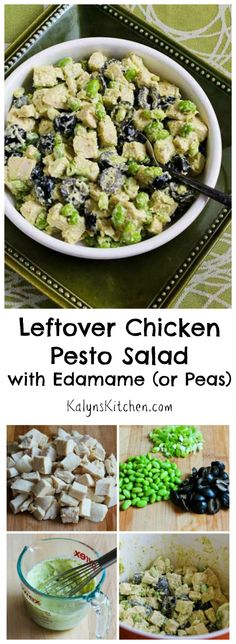 Any time you have leftover chicken or turkey grab some pesto and make this delicious Leftover Chicken Pesto Salad! (Of course this will be even better with homemade pesto if you have some in the freezer!) [from KalynsKitchen.com]