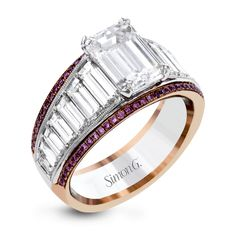 MR2836-Simon G. white and rose gold-pink diamonds-baguette diamonds simon set engagement ring $14,630