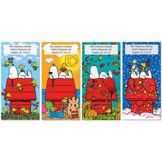 SNOOPY™ 4 Seasons Oversized Address Labels. Celebrate the year with a whimsical SNOOPY™-on-his-doghouse design for each of the 4 seasons!