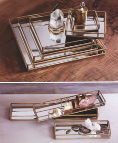 Share and get a 10% off coupon code! Cour Napoleon: Mirrored Glass Jewelry Display Serving Trays | NOVA68 Modern Design