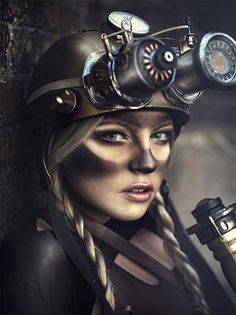 Beautiful steam. Get those steampunk goggles dirty! I love this makeup. Even her braids are dusty! - 11 Steampunk Makeup Designs