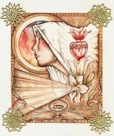 NEIRUS -SANTA TERESA D'AVILA- acrilico, tempera, acquerello e decorazioni su carta 100% cotone contact us: parione9@gmail.com