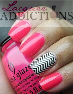 China Glaze-Rose Among the Thorns. Chevron nails. Lacquer Addictions nail blog.