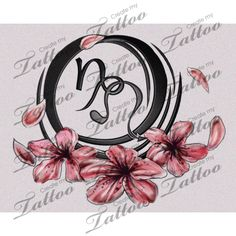 capricorn and leo signs entwined together custom tattoo | leo capricorn flower symbols w/o bg #19927 | CreateMyTattoo.com