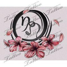 capricorn and leo signs entwined together custom tattoo   leo capricorn flower symbols w/o bg #19927   CreateMyTattoo.com
