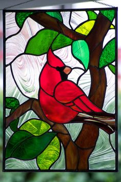Stained/Leaded Glass Art Nouveau stained glass window by Louis Comfort… Stained Glass Cardinal, Stained Glass Quilt, Stained Glass Birds, Stained Glass Crafts, Faux Stained Glass, Stained Glass Designs, Stained Glass Panels, Stained Glass Patterns, Glass Painting Designs
