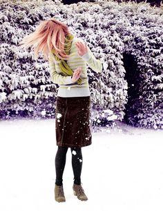 Boden's Everyday Jumper in Sulphur Melange Stripe, Everyday A-Line Skirt in Indigo & Moss Stitch Scarf