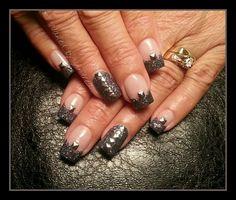 gun metal stud gel nails