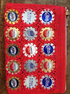 I'll take a side of red with my beer please! Bud Beer, Light Beer, Bottle Caps, Euro, Holiday Decor, Red