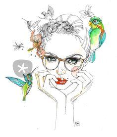 """lady of hummingbirds"" Drawing art prints and posters by Sara Ligari - ARTFLAKES.COM"