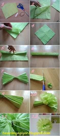how to make party flowers with serviette ! - diy