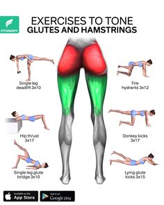 Sculpt your butt and hamstrings with these six exercises without equipment, which are designed to [& Fitness Workouts, Yoga Fitness, Gym Workout Videos, Fitness Workout For Women, Ab Workout At Home, Muscle Fitness, Butt Workout, Physical Fitness, At Home Workouts