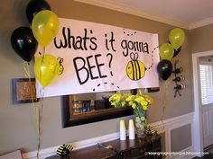 gender reveal parties, baby shower ideas, bee theme, party themes, gender party