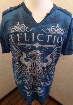NWT AFFLICTION Georges St- Pierre V-Neck Live Fast Tie Dye T-Shirt Sz XL #Affliction