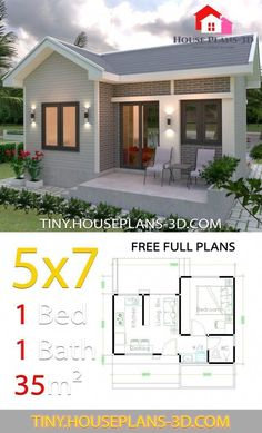 Small One Bedroom House Plans Best Of Small House Design Plans with E Bedroom Gable Roof In Gable Roof Design, House Roof Design, Home Building Design, Small House Design, Home Design Plans, Small House Floor Plans, My House Plans, 1 Bedroom House Plans, House Construction Plan
