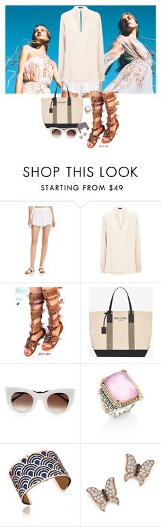 """183-3 because of you"" by afashionpage on Polyvore featuring Boho Me, Joseph, Yves Saint Laurent, Thierry Lasry, Konstantino, Les Georgettes and Bloomingdale's"