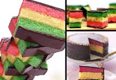 3 color spongle w chocolate cover. Best choice for my brother bday :)  Discover dessert recipes at www.vietnamesefood.com.vn