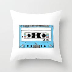Retro Blue Cassette Tape // Mix Tape Throw Pillow by BLUEBUTTON STUDIO - $20.00